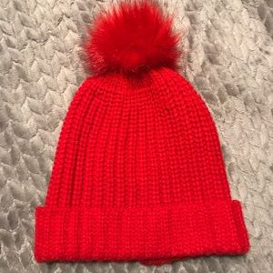Red Winter Poof Hat